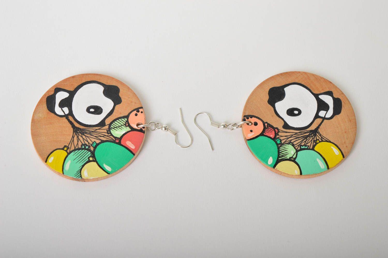 Wooden earrings handmade round earrings cute painted earrings with pandas photo 5