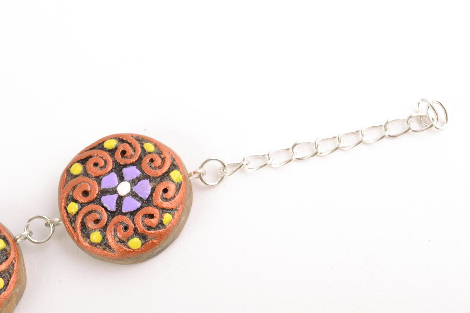 clay bracelets Beautiful handmade clay neck pendant painted with acrylics on chain - MADEheart.com