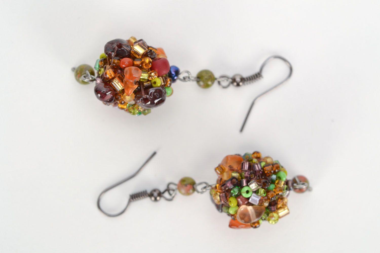 Ohrringe mit Jaspis und Bernstein foto 2