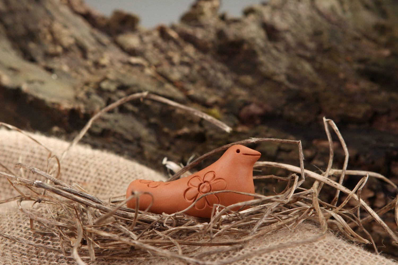 Ceramic tin whistle Bird, musical instrument and children's toy photo 1