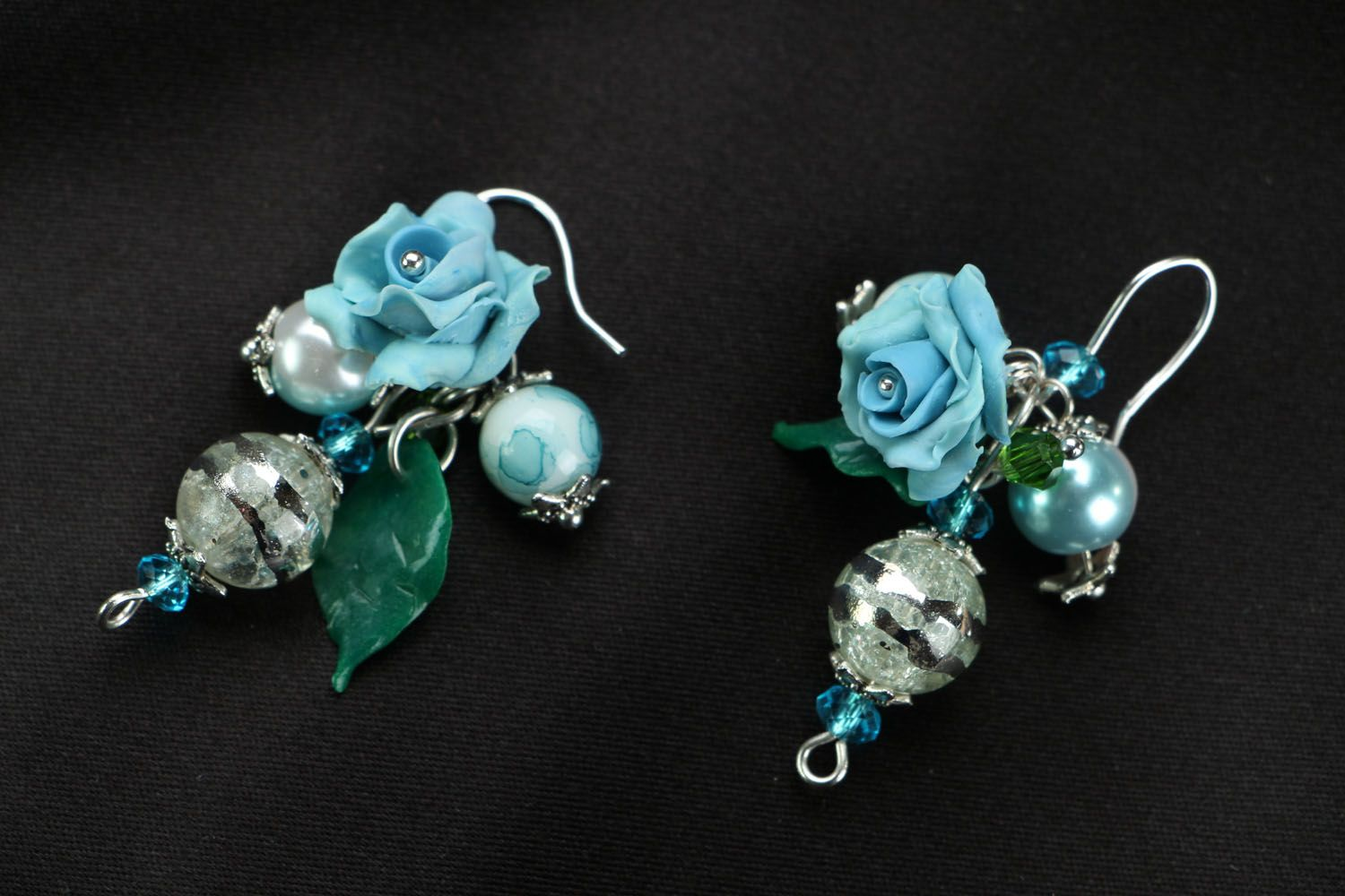 Earrings with charms Blue Roses photo 1