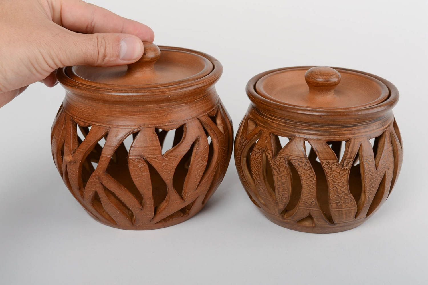 Set of 2 handmade designer carved clay aroma lamps with lids 2 pieces photo 5