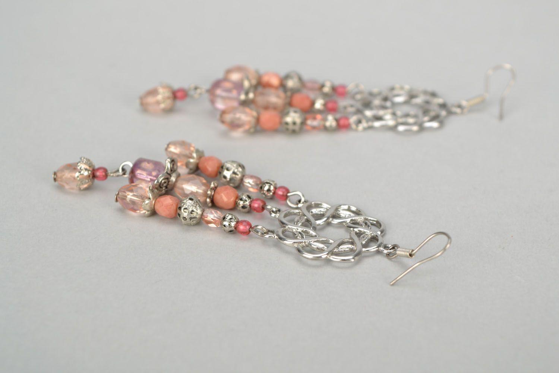 Long metal and glass earrings photo 4