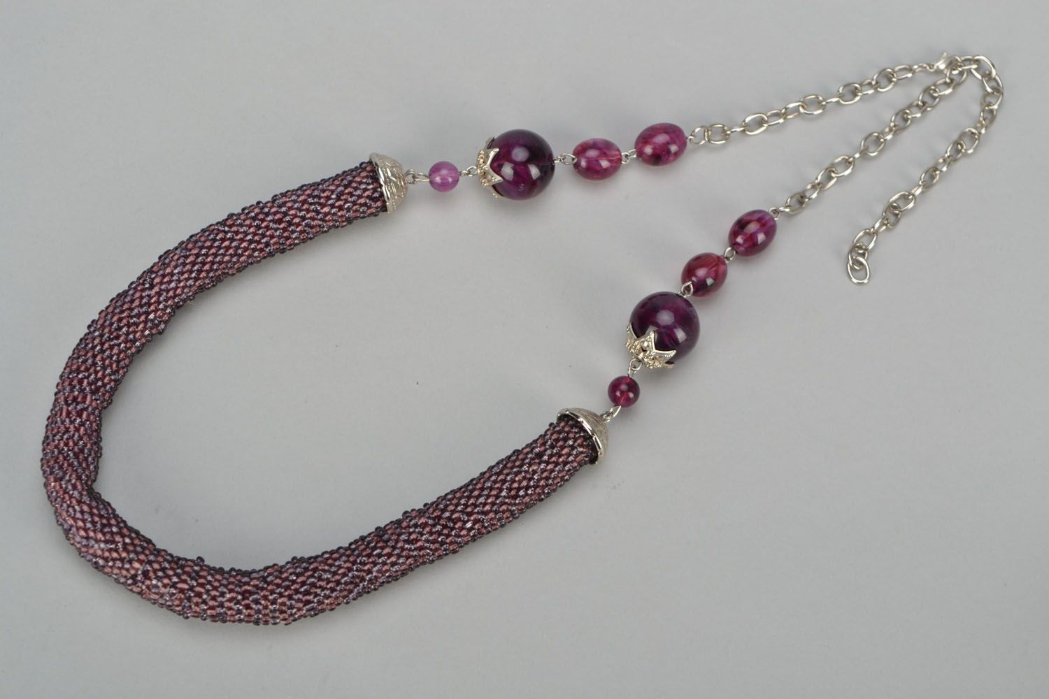 Beaded jewelry set Ultraviolet photo 4