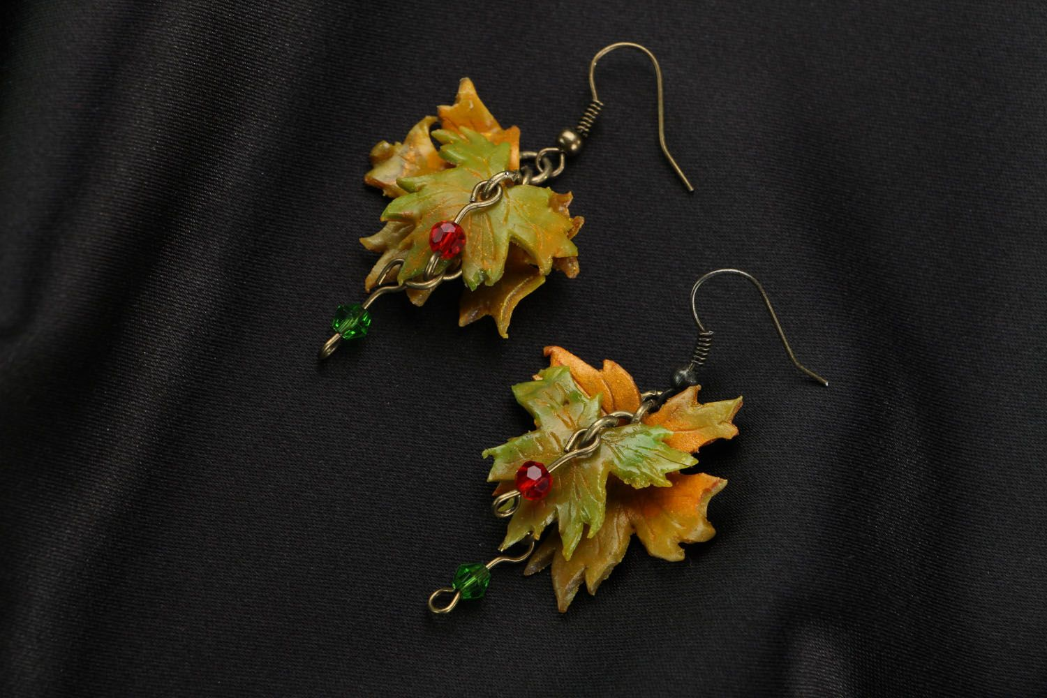 Dangle earrings made of polymer clay Autumn photo 1