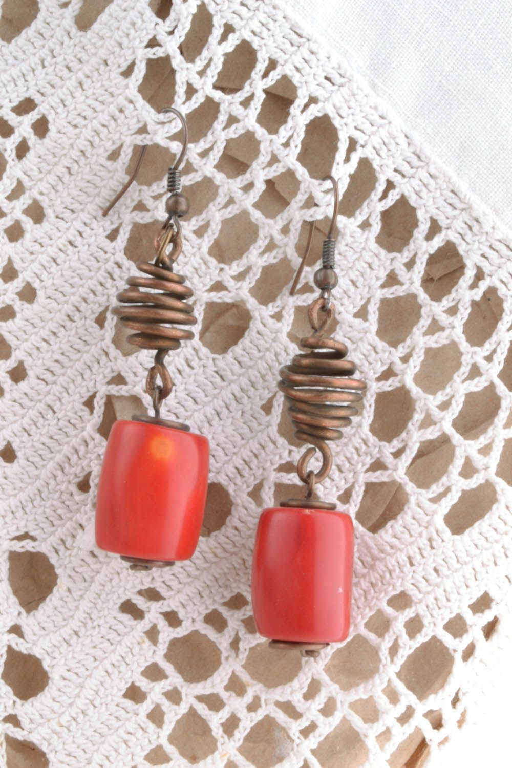 Copper earrings with coral stones photo 1