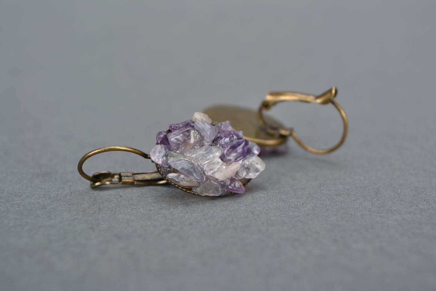 Earrings and a brooch with amethyst photo 5