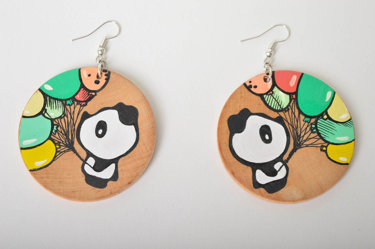 Wooden earrings handmade round earrings cute painted earrings with pandas photo 2