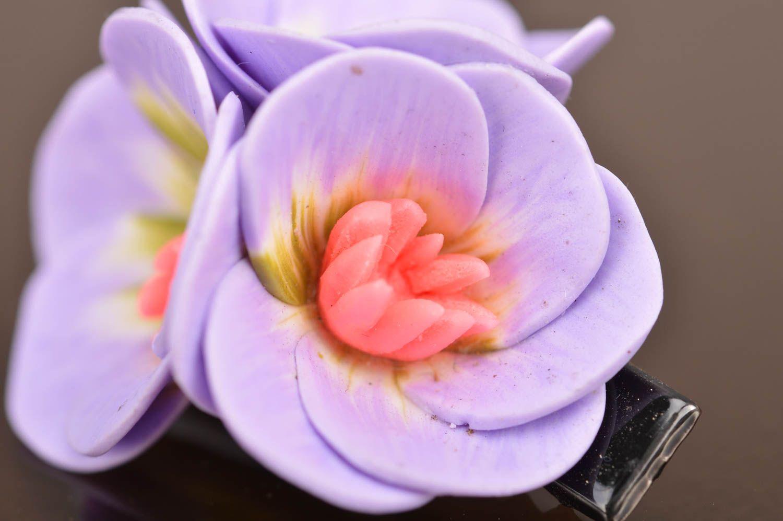 Unusual beautiful handmade designer lilac polymer clay flower hair clip photo 4