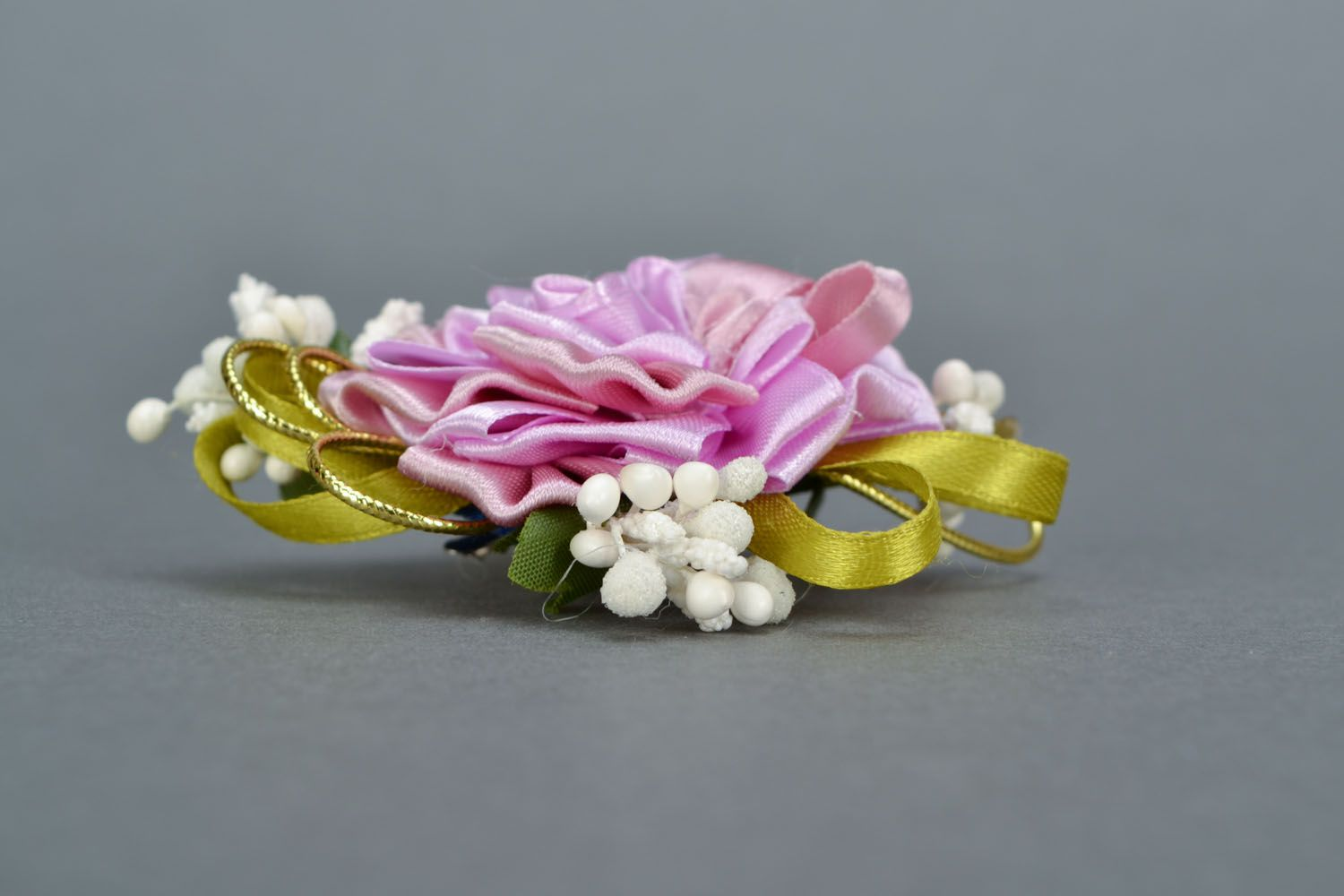 Gentle brooch-hair clip with ribbons Tea Rose photo 5