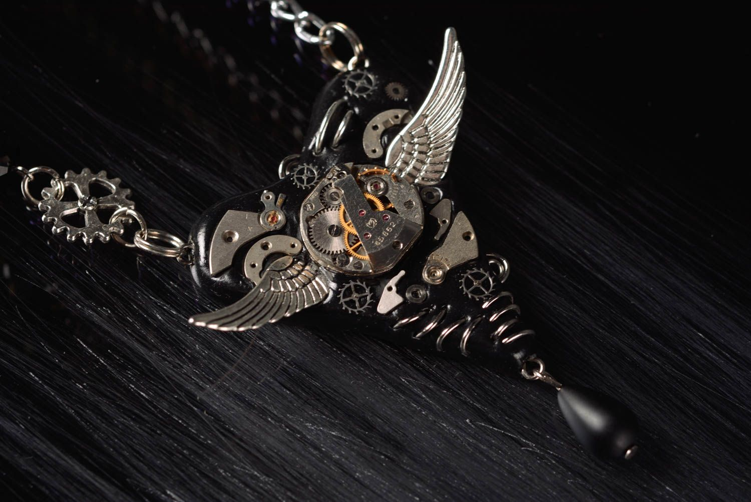 Madeheart handmade unique metal steampunk necklace polymer clay metal jewelry handmade unique metal steampunk necklace polymer clay pendant designer jewelry madeheart aloadofball Image collections