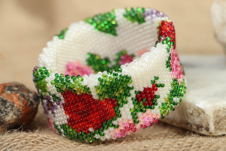Wide beaded bracelet Victorian Garden photo 5