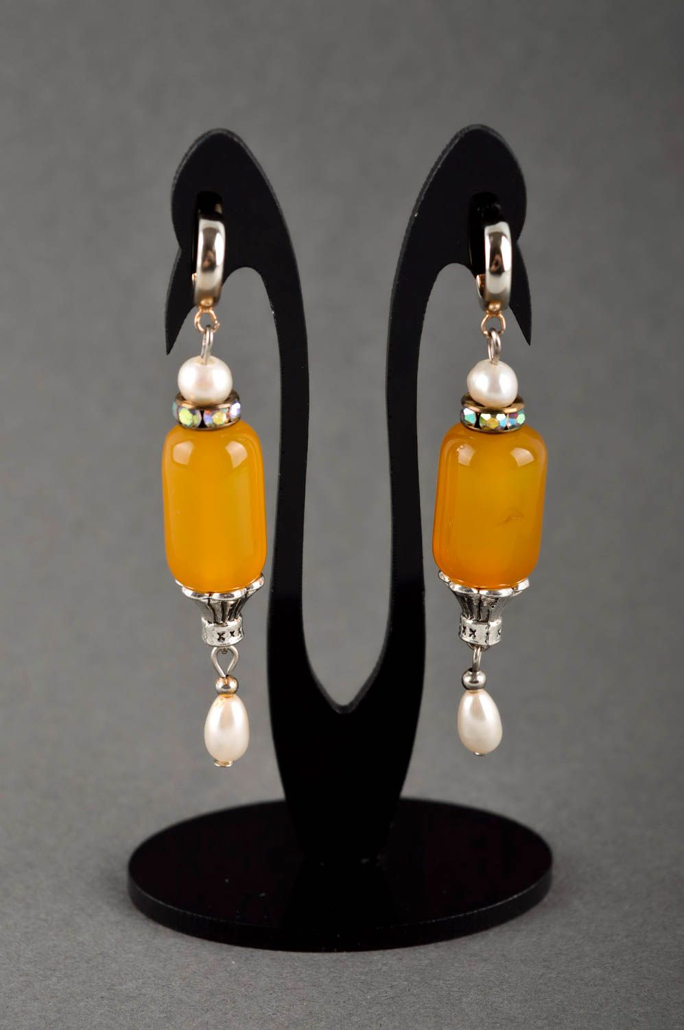 Handmade designer earrings cute earrings with cornelian earrings with charms photo 1