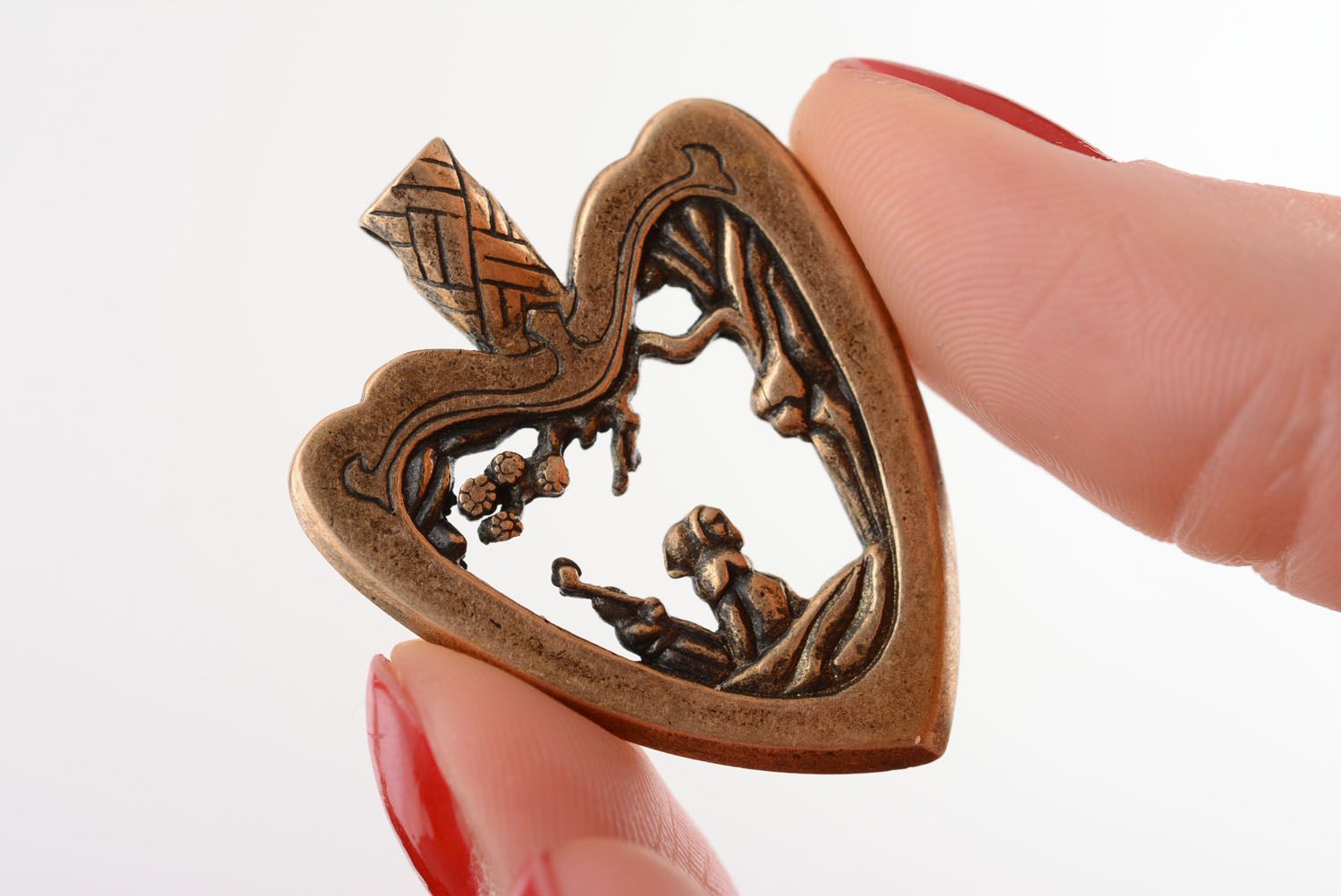 Bronze pendant Japanese Heart photo 4