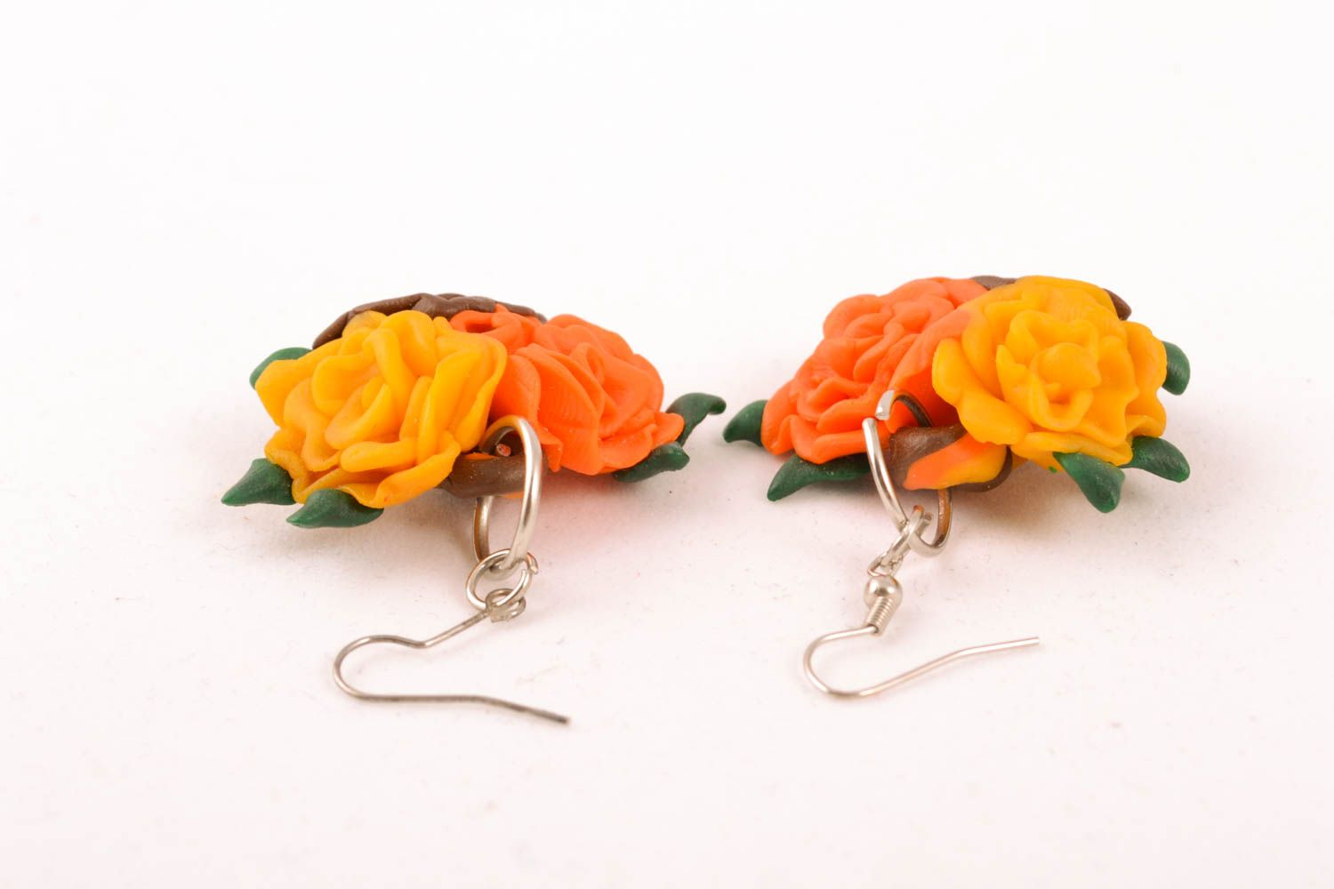 Polymer clay floral earrings photo 1