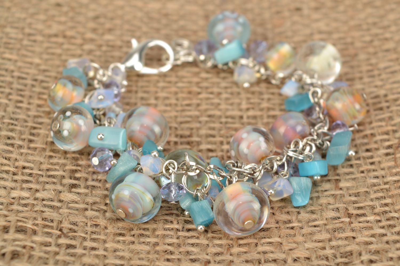 Lampwork glass bracelet Sea Stones photo 2