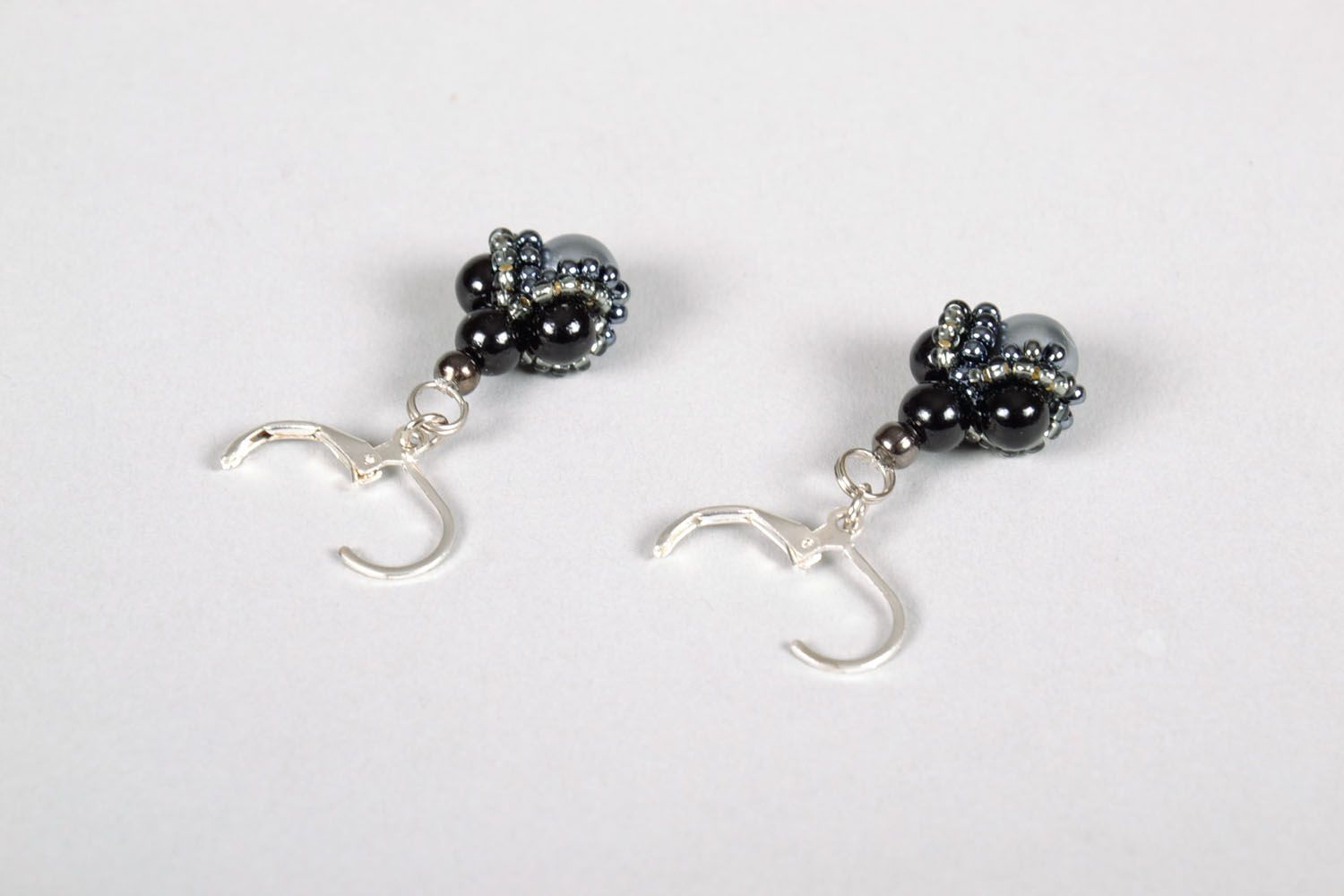 Earrings with charms Black Garnet photo 4