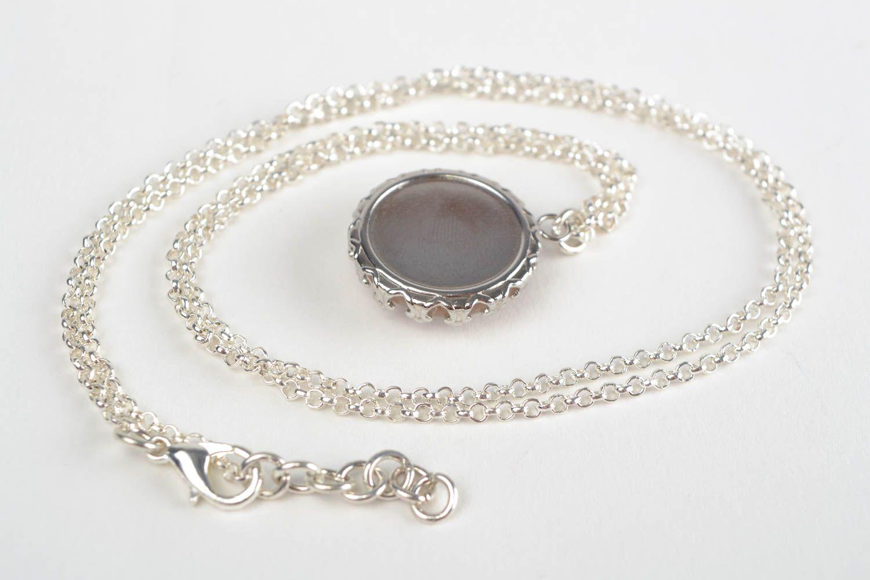 Handmade designer round white glass pendant on chain with image of Taurus photo 5