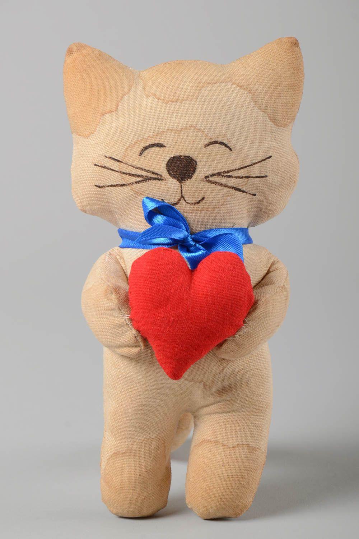 Unusual handmade fabric soft toy textile stuffed toy rag doll home design photo 2