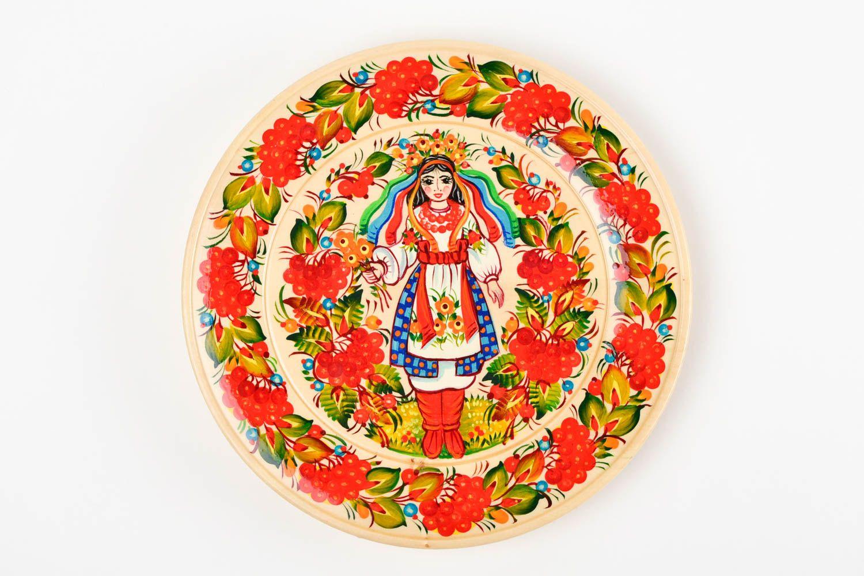 Декоративная посуда ручной работы деревянная тарелка настенный декор с росписью фото 4