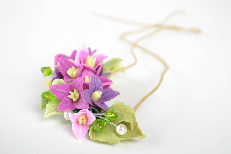 Schmuck Collier handmade Damen Halskette Halsschmuck für Damen mit Blumen lila foto 3