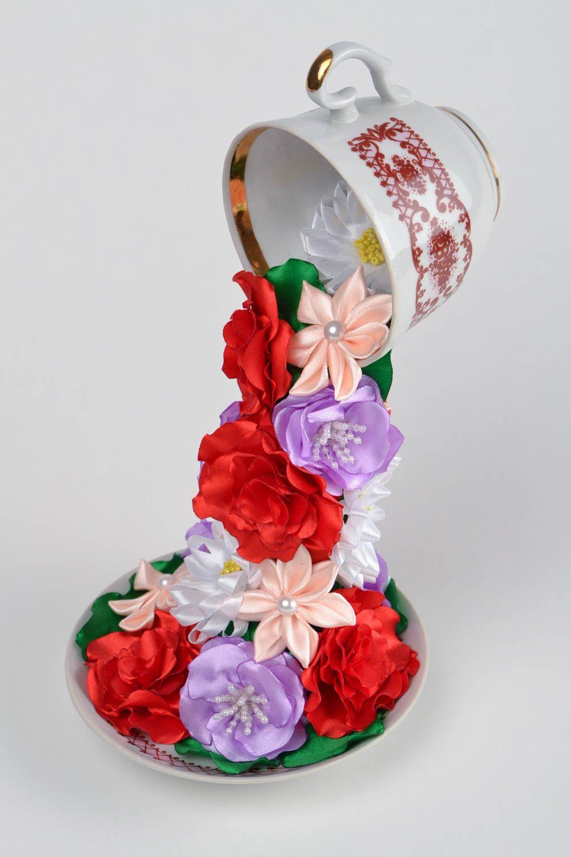Madeheart beautiful handmade decorative flying cup with satin beautiful handmade decorative flying cup with satin ribbon flowers home decor madeheart izmirmasajfo