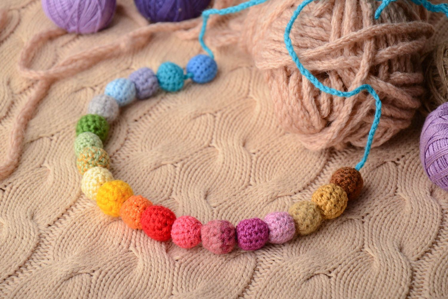 Multi-colored hand crocheted bead necklace photo 1
