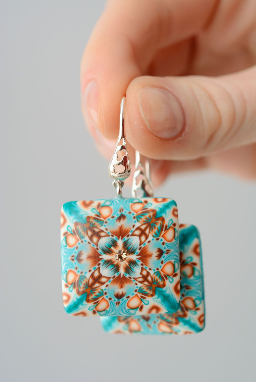 Square polymer clay earrings photo 3