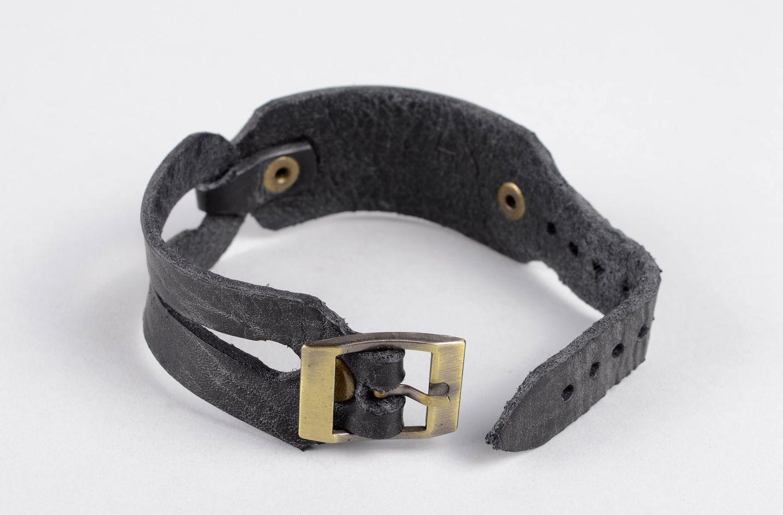 Damen Lederarmband handmade exklusiver Schmuck Armband schwarz, stilvoll  foto 4