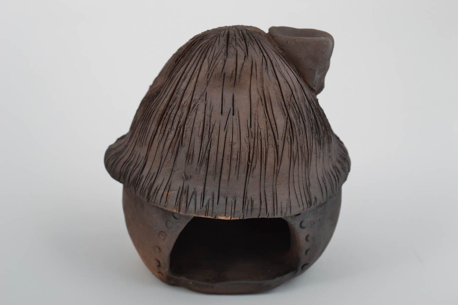 Clay oil burner in the form of small brown house beautiful handmade decor photo 3