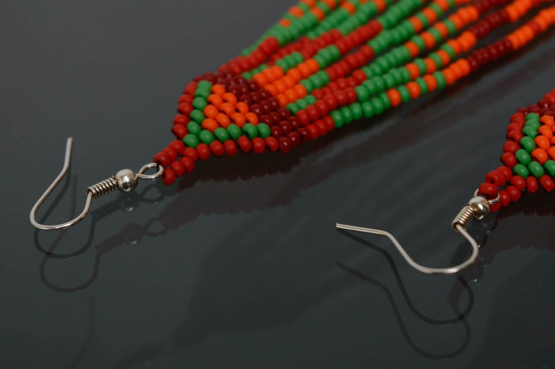 Handmade long beaded earrings  photo 5