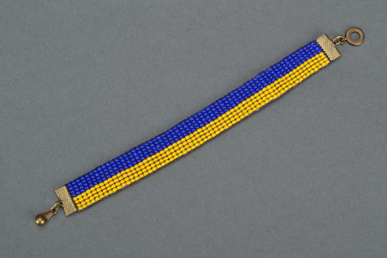 Yellow-blue bead bracelet photo 3
