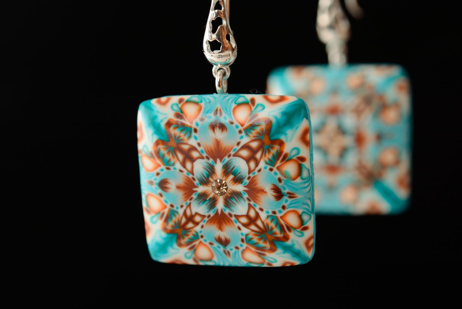 Square polymer clay earrings photo 2