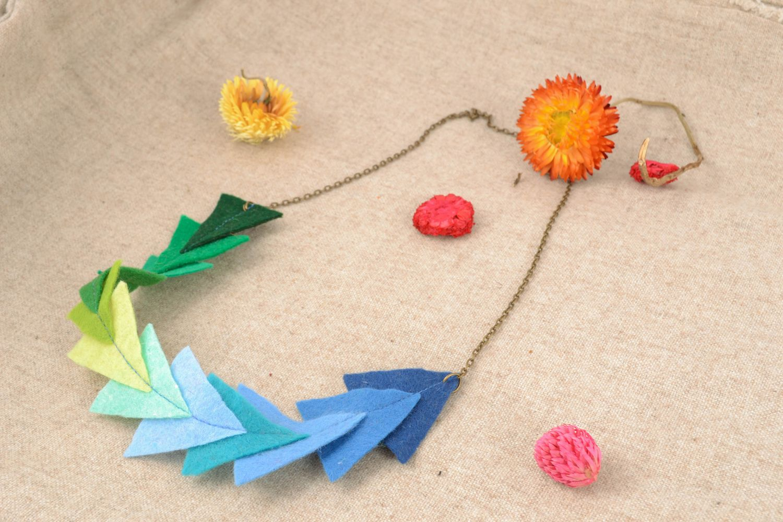 Bright felt bead necklace photo 1