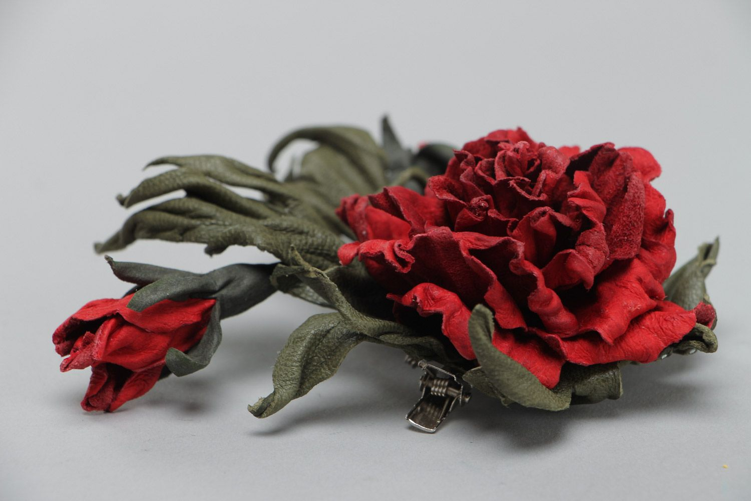 Handmade natural leather brooch with dark red volume flower for outer clothes photo 3