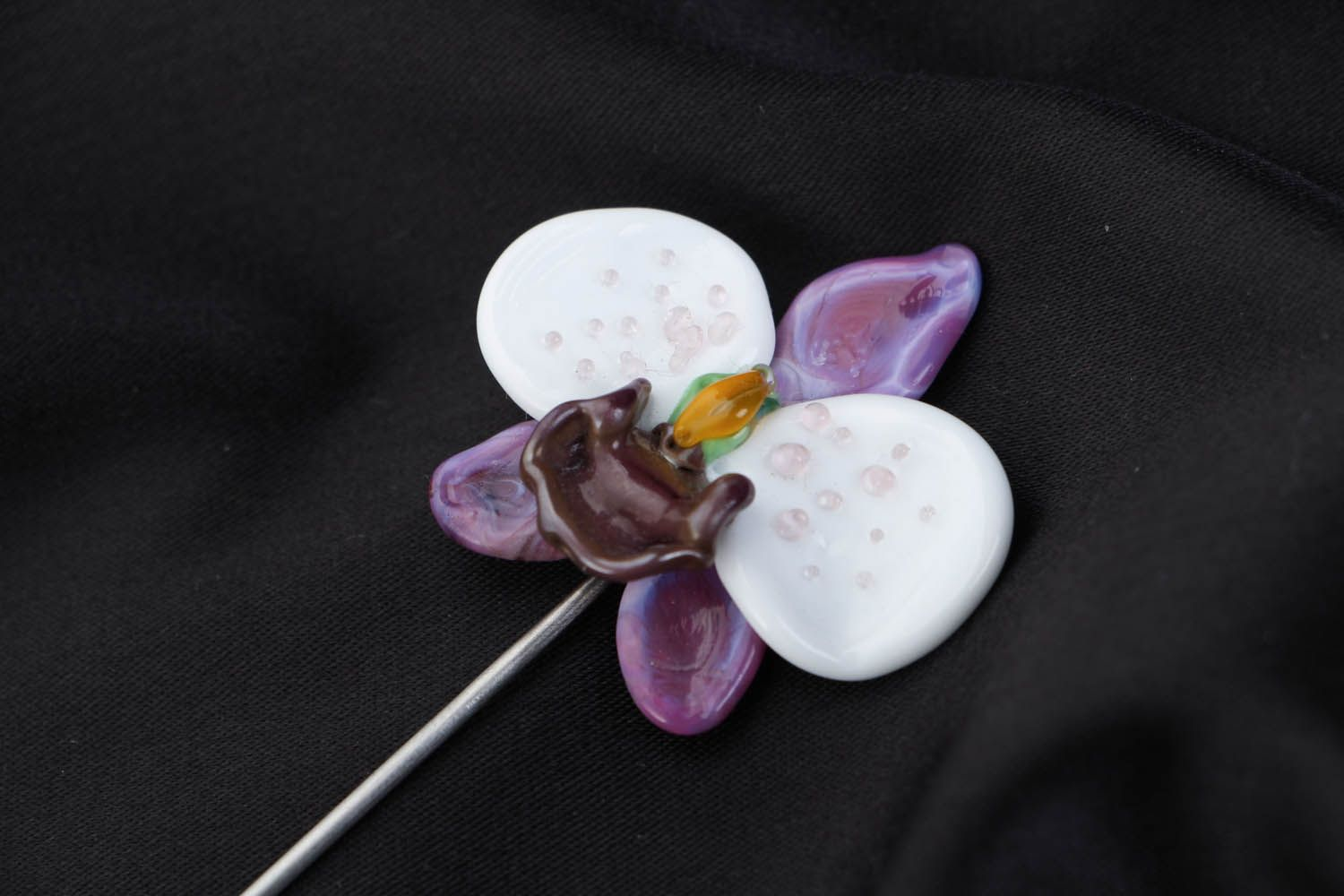 Designer glass brooch Orchid photo 3