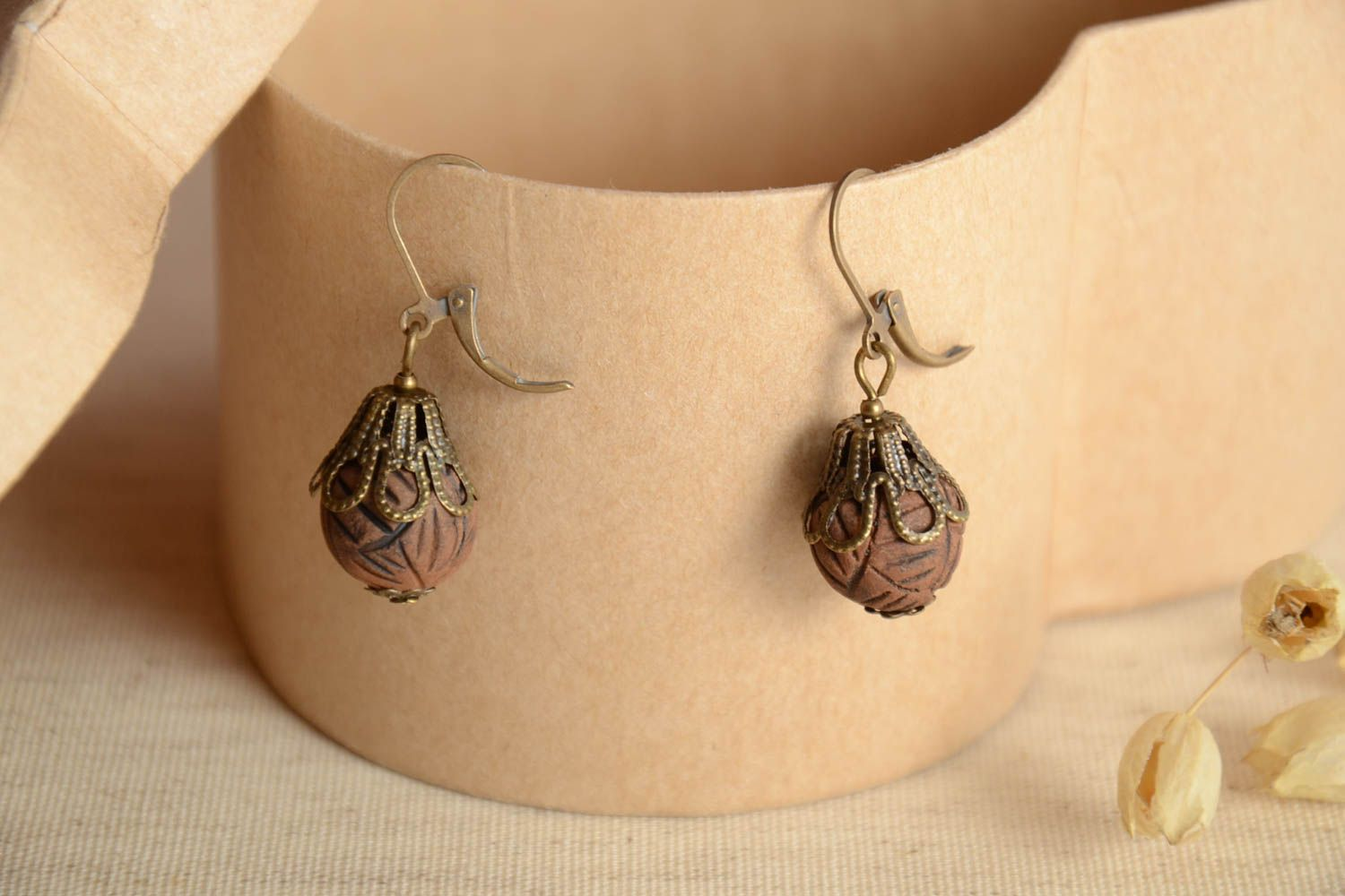 Stylish handmade clay earrings ceramic earrings for women designer accessories photo 1