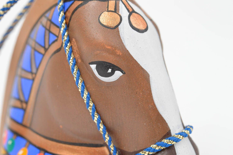 Handmade unusual ceramic bell cute souvenir in shape of horse unusual home decor photo 5