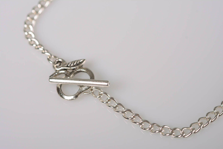Collier en perles de bois sur chaîne métallique fait main original élégant photo 4