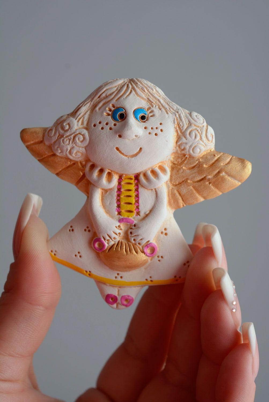 Homemade ceramic fridge magnet Angel photo 3