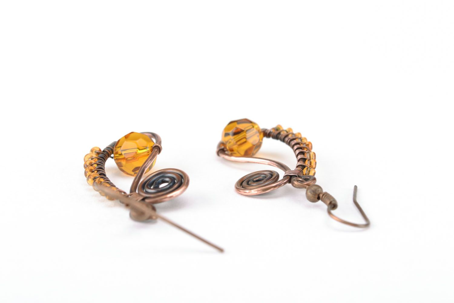 Earrings made of copper wire photo 2