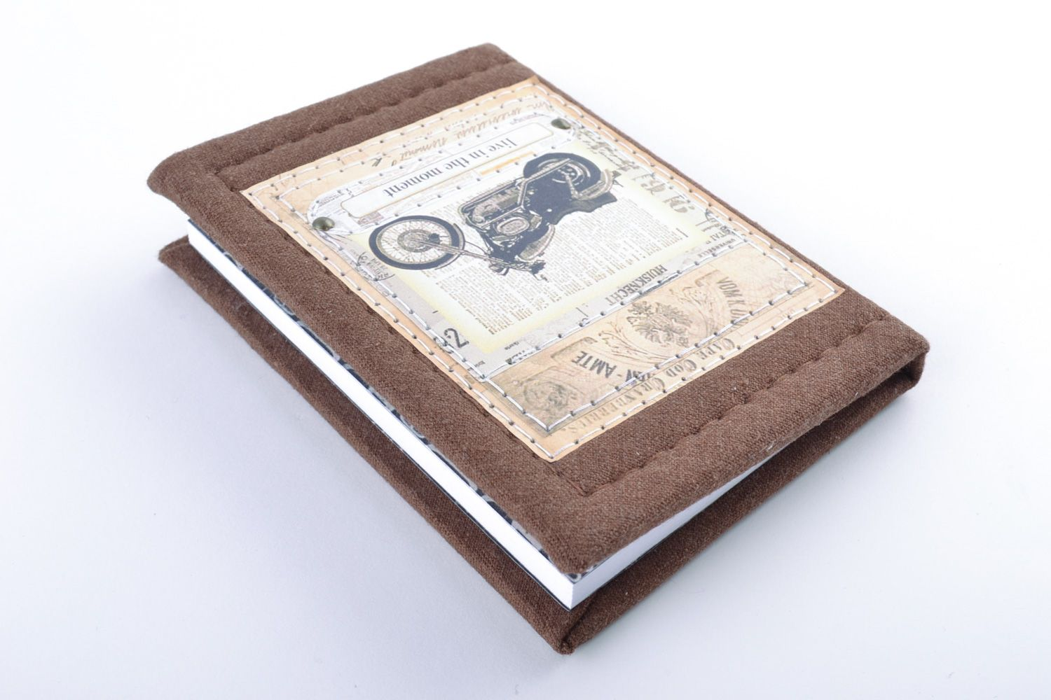 Handmade beautiful notebook with fabric cover with the image of retro motorbike photo 5