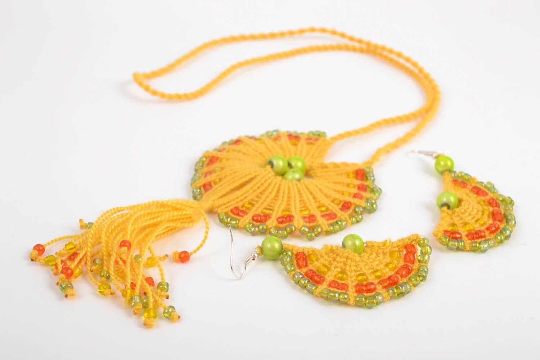 Macrame jewelry set handmade earrings pendant necklace fashion accessories photo 3