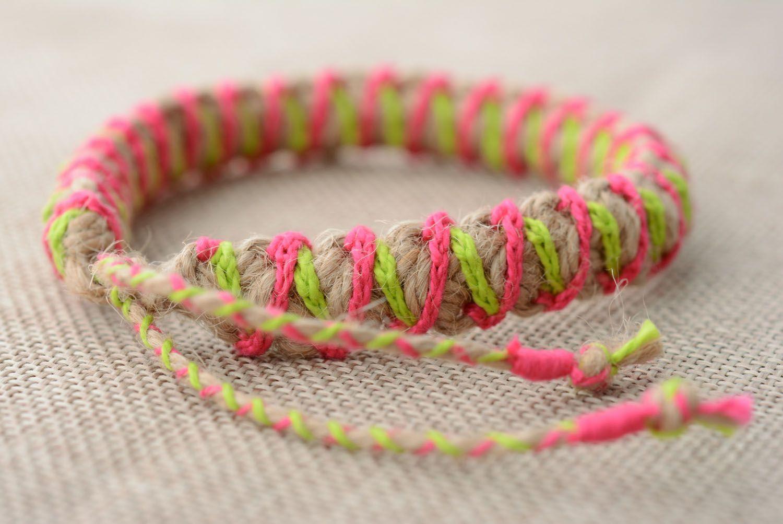 Multicolored braided friendship bracelet photo 2