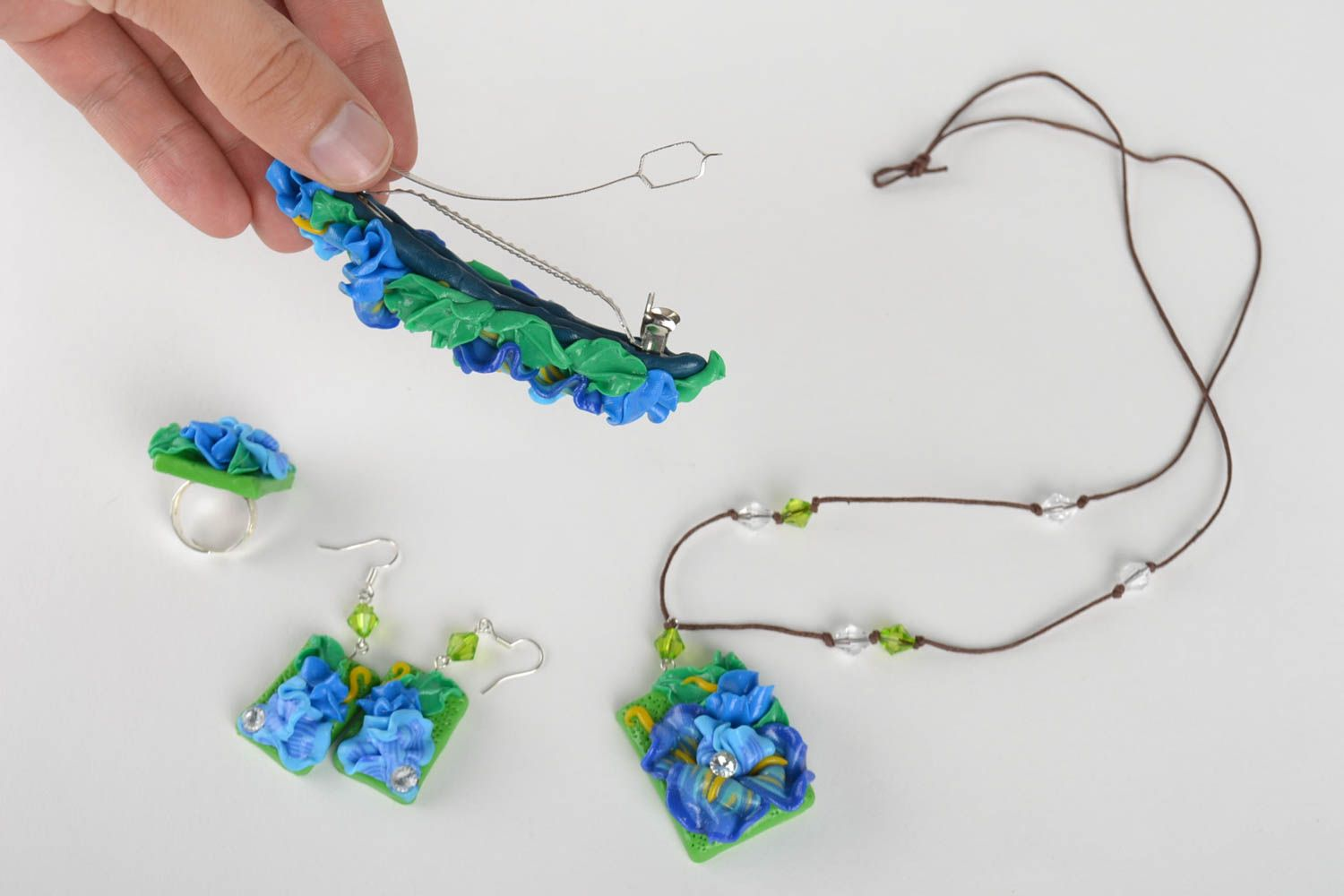 Handmade jewelry set flower necklace dangling earrings hair clip seal ring photo 5