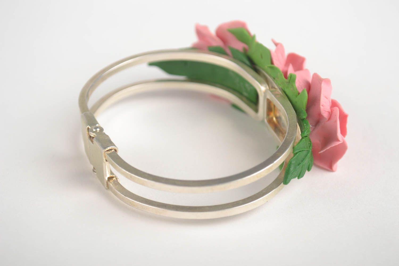 Браслет ручной работы украшение из холодного фарфора браслет с цветами розовый фото 2
