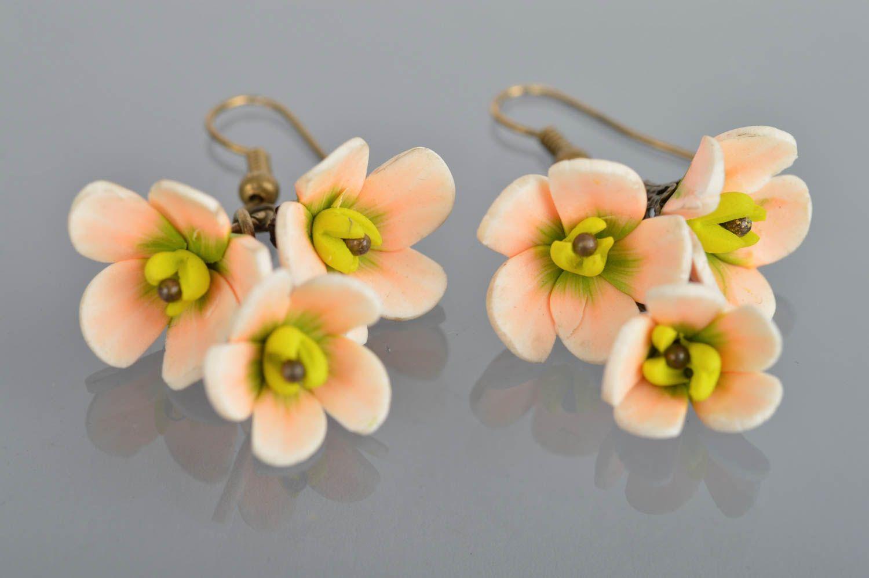 Handmade designer dangling earrings with polymer clay tender flowers photo 2