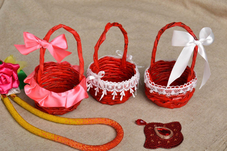 Handmade basket unusual decor for home 3 items decor ideas paper basket