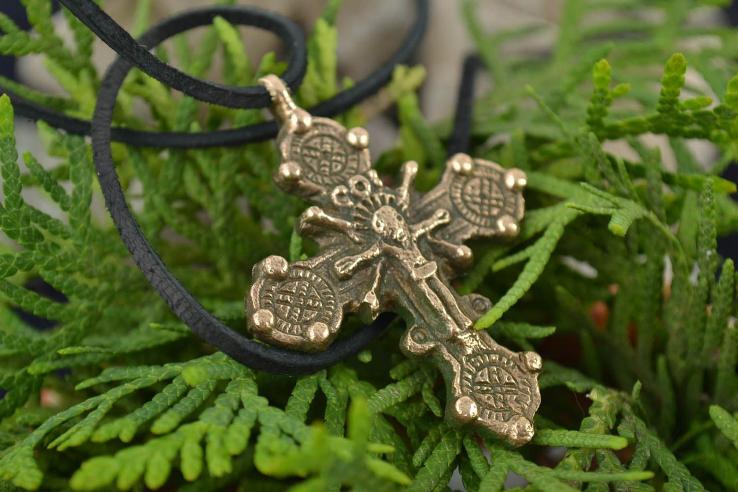 next to skin crosses Handmade designer bronze neck pendant pectoral cross gift for believer - MADEheart.com