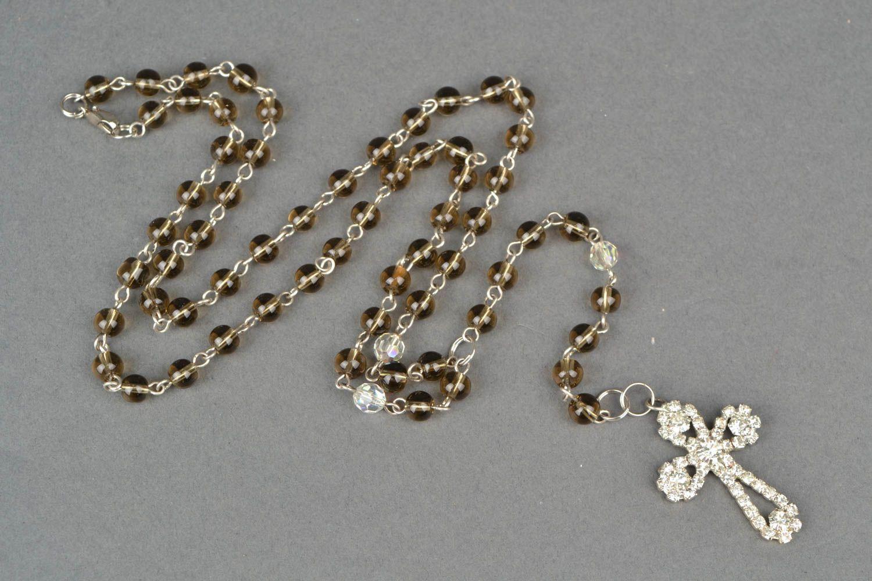 Women's quartz bead necklace with cross photo 3